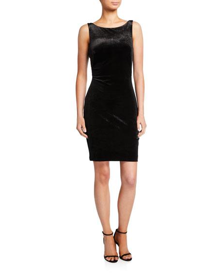 Love, Theia Sleeveless Twist-Back Velvet Dress