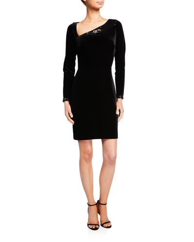 Asymmetric Long-Sleeve X-Back Velvet Dress with Sequins