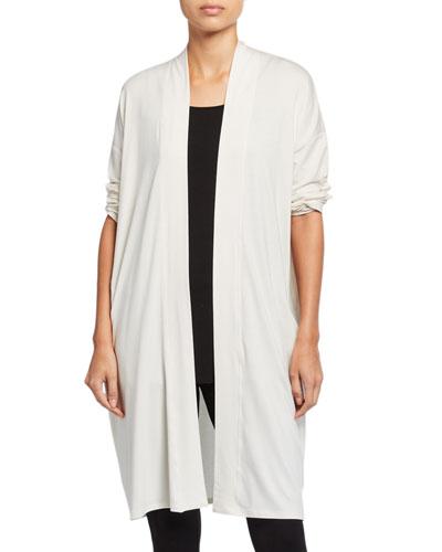 Plus Size Fine Jersey Long Cardigan