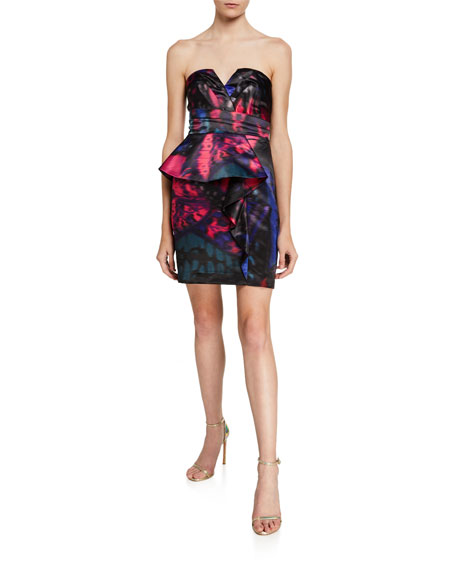 Parker Black Makani Strapless Printed Satin Mini Dress with Peplum