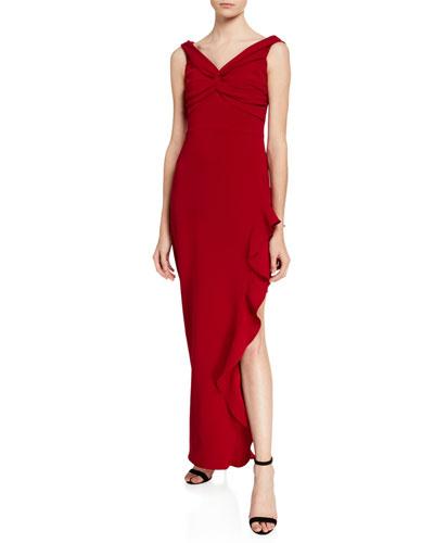 Wells V-Neck Sleeveless Side Ruffle Column Gown