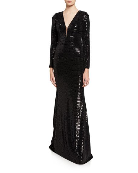 Jovani Hooded Transfer Foil Long-Sleeve Gown
