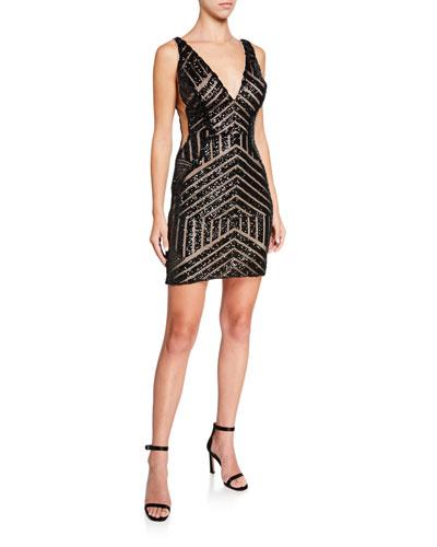 Pattern Sequined V-Neck Sleeveless Short Dress