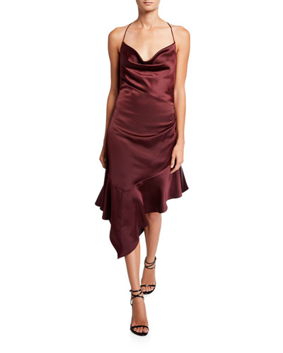 Edyth Cowl-Neck Asymmetric Satin Midi Dress
