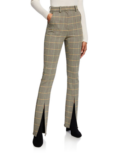 Edwin Glen Check High-Rise Slit-Hem Pants