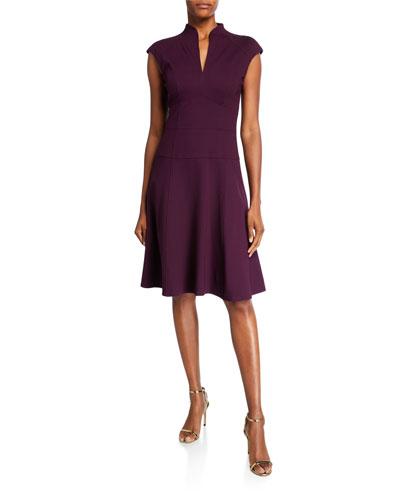 Cap-Sleeve Solid Ponte Flare Dress