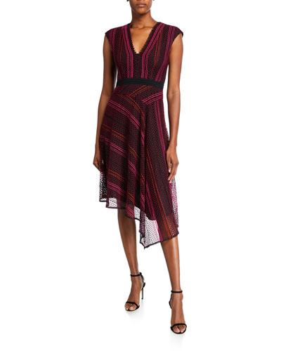 V-Neck Sleeveless Striped Lace Asymmetrical Dress