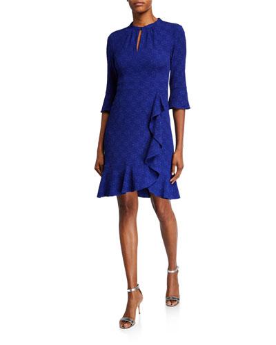 Textured Half-Sleeve Flounce Dress