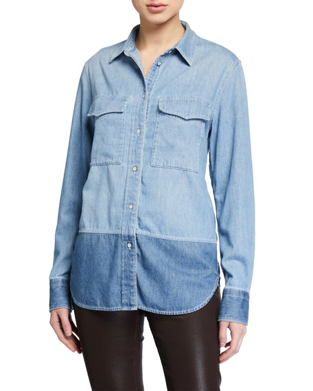 Rag & Bone Birdie Two-Tone Button-Down Shirt