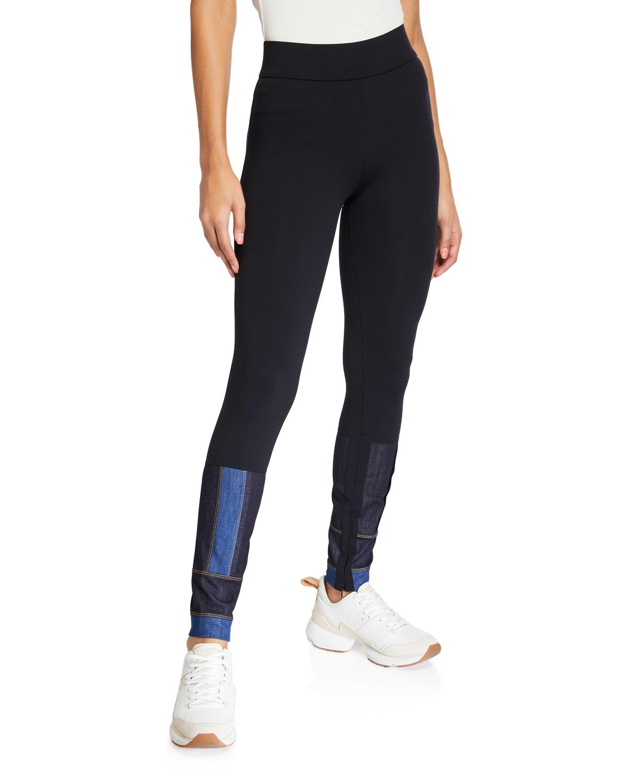 Denim-Patch Paneled Leggings