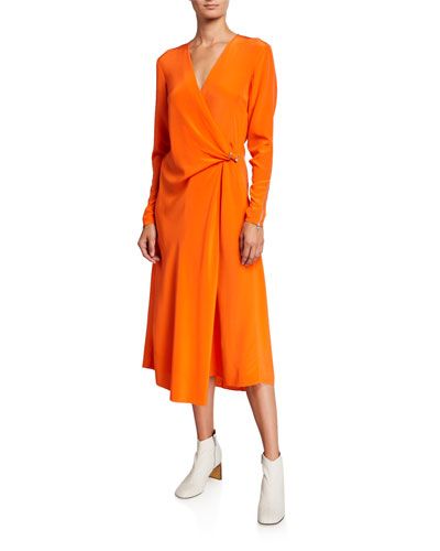 Odette Long-Sleeve Silk Wrap Dress