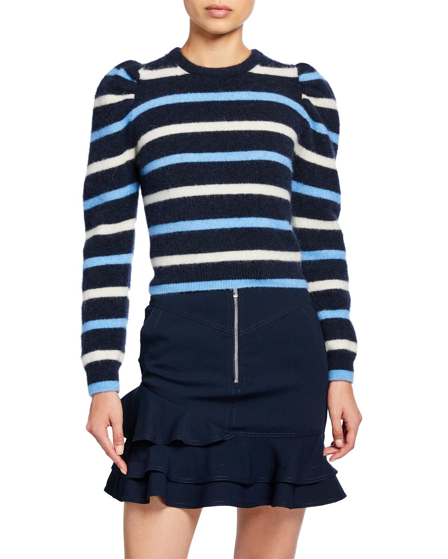 Derek Lam 10 Crosby Sweaters STRIPED PUFF-SLEEVE SWEATER