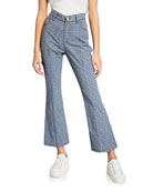 Derek Lam 10 Crosby Cropped Mouline Check Flare