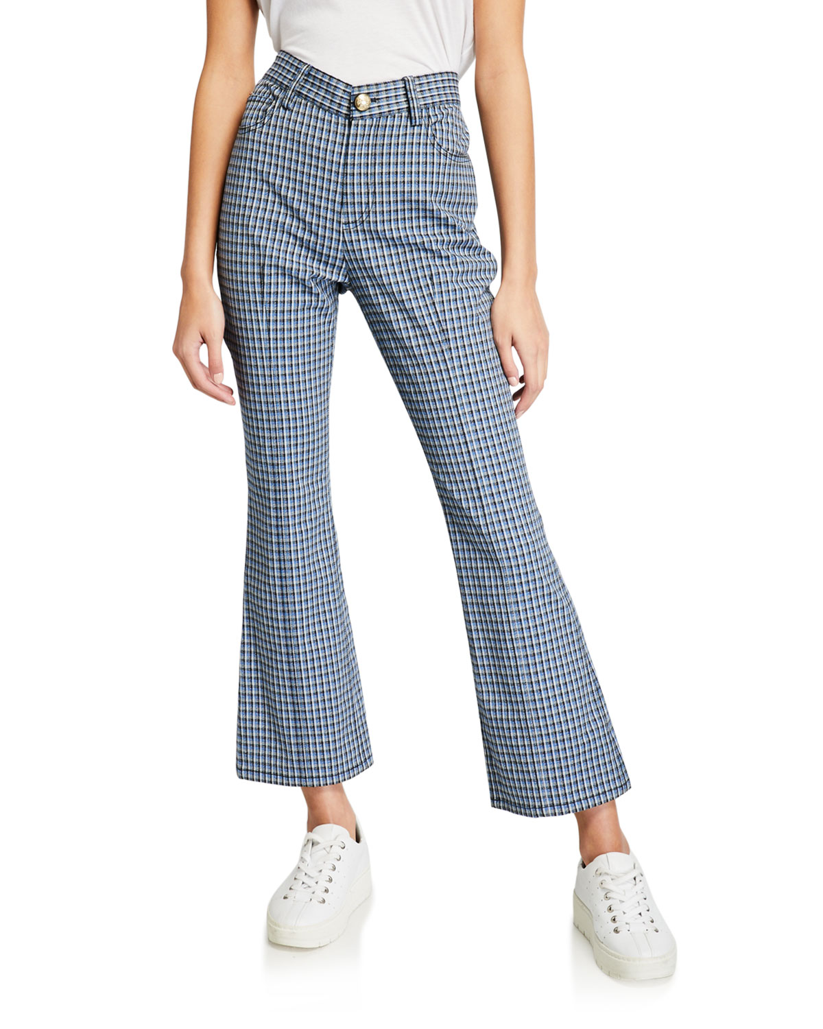 Derek Lam 10 Crosby Jeans CROPPED MOULINE CHECK FLARE JEAN TROUSERS