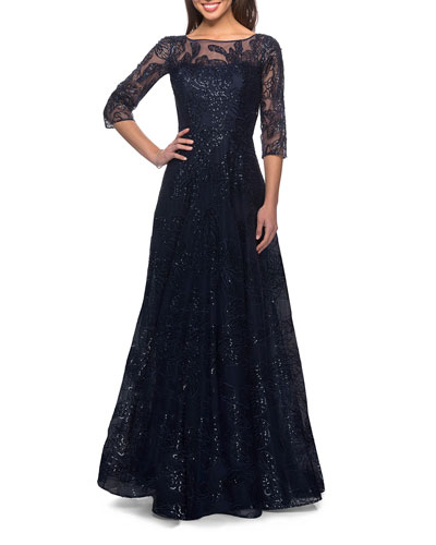 Lace Illusion 3/4-Sleeve A-Line Gown