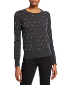 Neiman Marcus Cashmere Collection Pearl Embellished Long-Sleeve