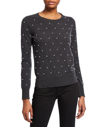 Pearl Embellished Long-Sleeve Crewneck Sweater