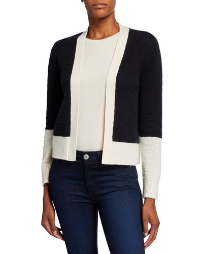 Cashmere Colorblock Long-Sleeve Cardigan