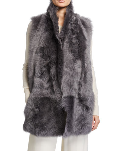 Mid Length Mixed Shearling Vest