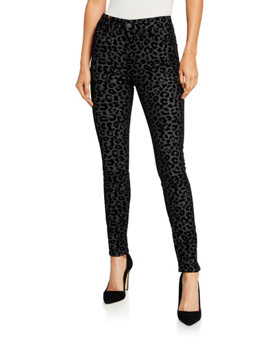 Bamboo Skinny Leopard-Print Jeans