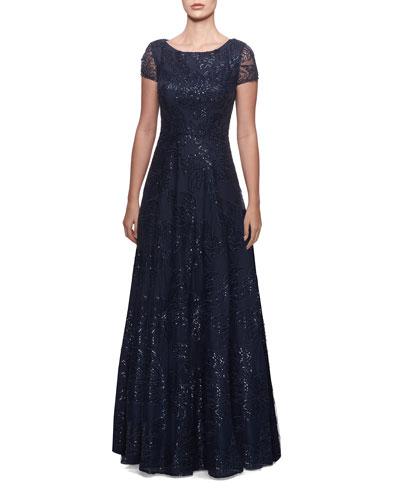 Sequin Floral Bateau-Neck Cap-Sleeve A-Line Gown