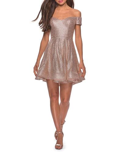 Sequin Off-the-Shoulder Short Fit-&-Flare Dress