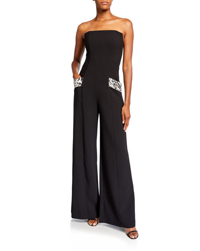 Carmine Strapless Wide-Leg Jumpsuit w/ Leopard Pockets