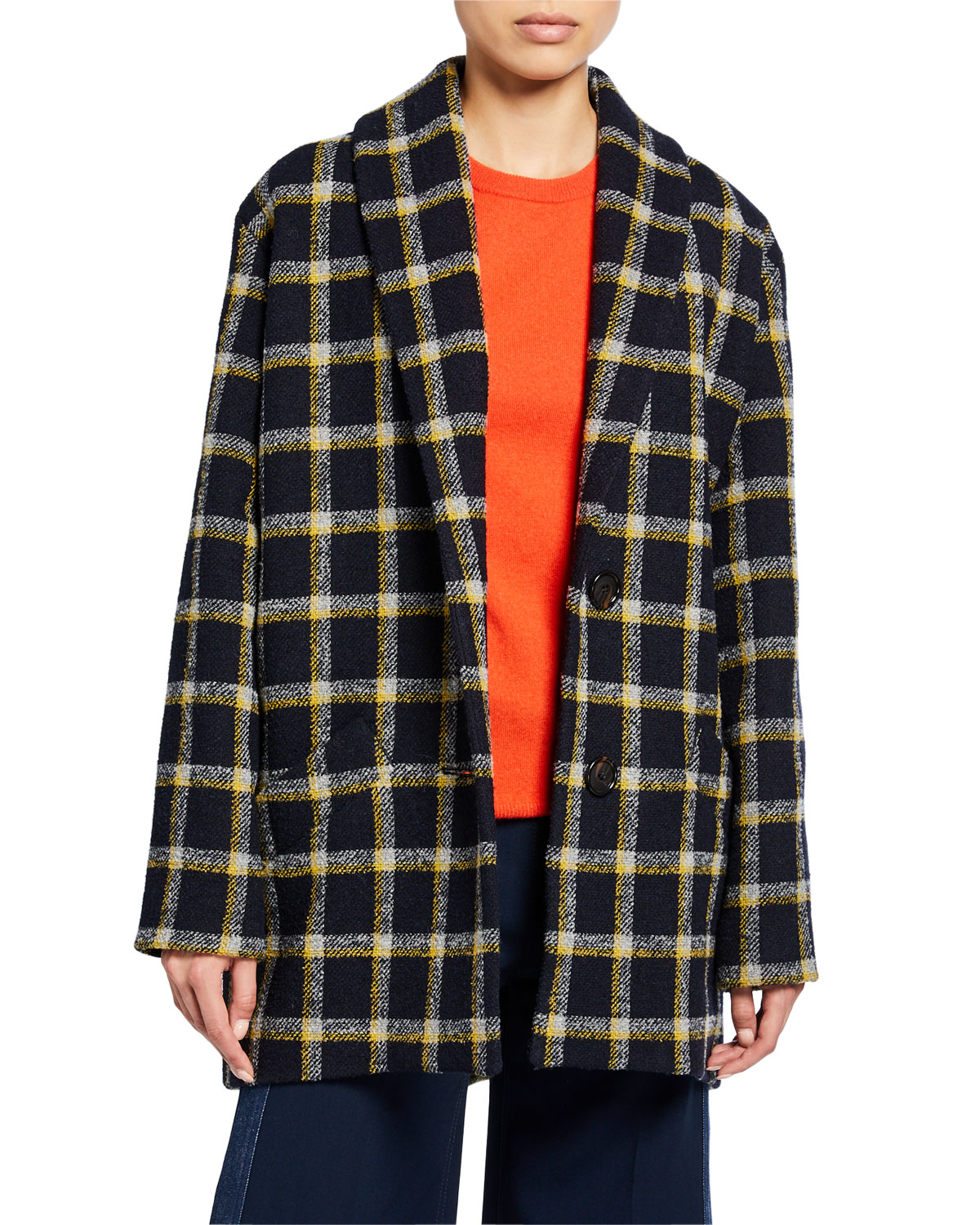Derek Lam 10 Crosby Coats SHAWL-COLLAR CHECK COCOON COAT