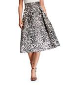 Black Halo Sanibel Leopard-Print Full Cocktail Skirt