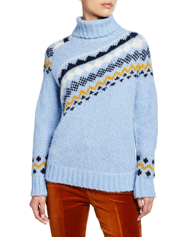 Derek Lam 10 Crosby Sweaters DIAGONAL FAIR ISLE TURTLENECK SWEATER