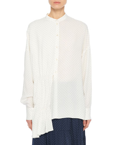 Pindot Draped Button-Front Tunic