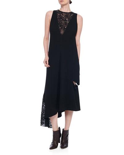 Guipure Lace Sleeveless Asymmetrical Dress