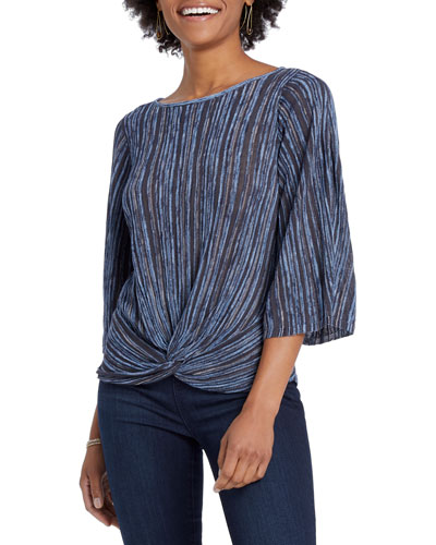 Path Finder Striped 3/4-Sleeve Twist Top