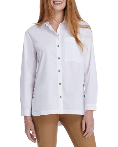 Clean and Classic Long-Sleeve Button-Down Top