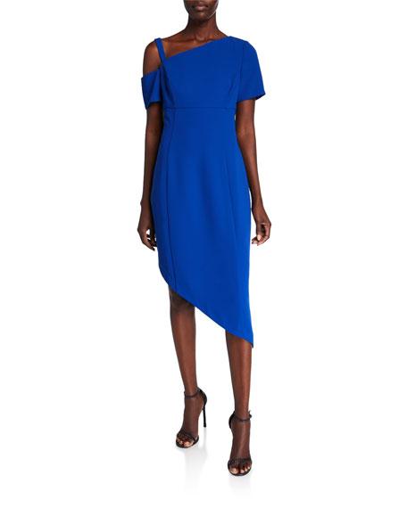 Shani Asymmetric Cold-Shoulder Crepe Sheath Dress