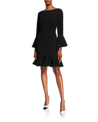 Bell-Sleeve Crepe Fit-&-Flare Dress