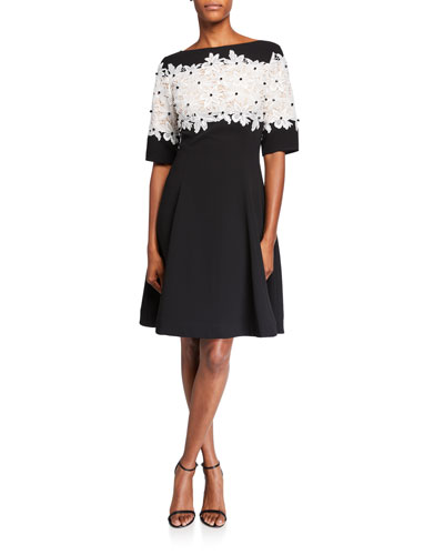 Elbow-Sleeve Crepe Dress with Floral Lace Bodice