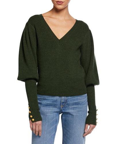 Esme Bishop-Sleeve Wool Sweater