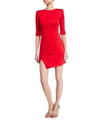 Nova Strong-Shoulder Asymmetric Mini Dress