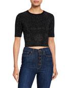 Alice + Olivia Ciara Heat-Set Crystal Sweater