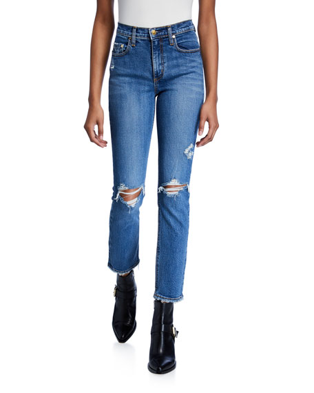 Nobody Denim True Jean Ankle Rip-Knee Jeans