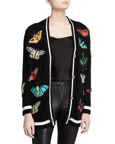 Bradford Butterfly-Embroidered Grandpa Cardigan