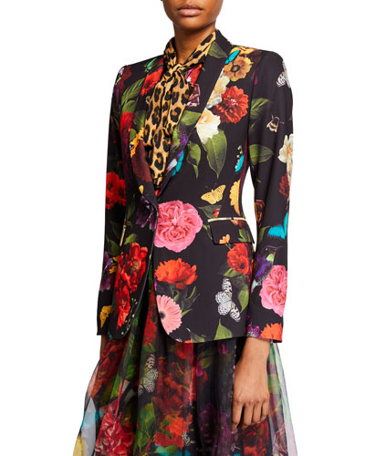 Macey Floral Strong Shoulder Shawl-Collar Blazer