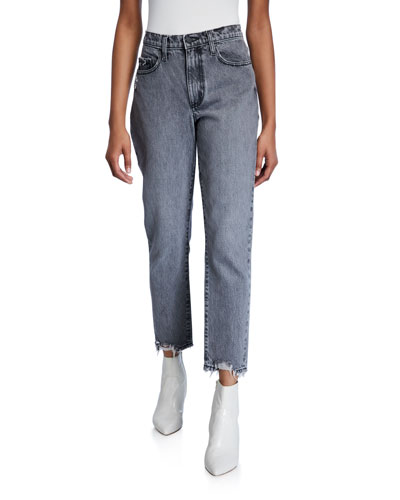 Bessette High-Rise Straight Jeans w/ Chewed Hem