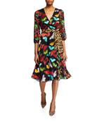 Alice + Olivia Jesse Blouson-Sleeve Midi Faux-Wrap Dress