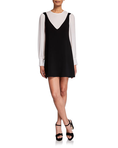 Mercer Layered Long-Sleeve Short Dress