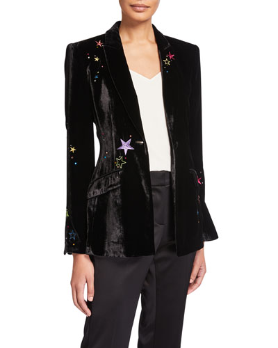 Estelle Velvet Star-Embroidered Blazer