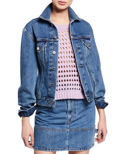 Femme Trucker Button-Front Denim Jacket