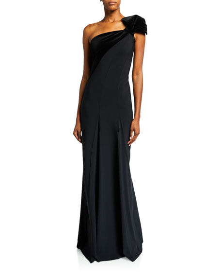 Chiara Boni La Petite Robe One-Shoulder Long Gown w/ Velvet Detail