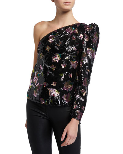 Midnight Bloom One-Shoulder Sequined Top